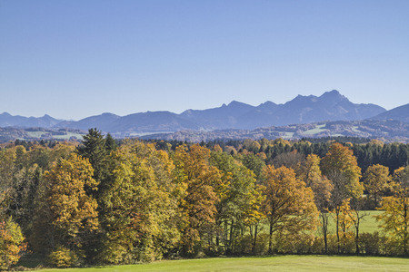 Autumn landscape in the district of Miesbach with a view of the Wendelstein