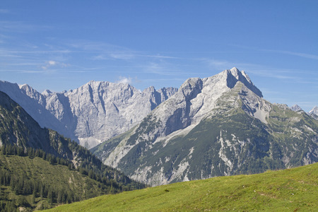 View of the Karwendel Mountains seen from the Plumsjoch