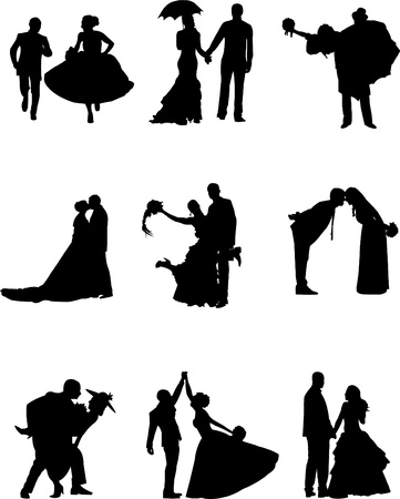 Illustration pour Illustration of groom and a bride in a nine different poses  - image libre de droit