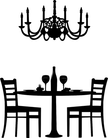 Romantic dinner for two with table and two chairs, candle decoration and bottle of wine and old antique chandelier, silhouette isolated on white background