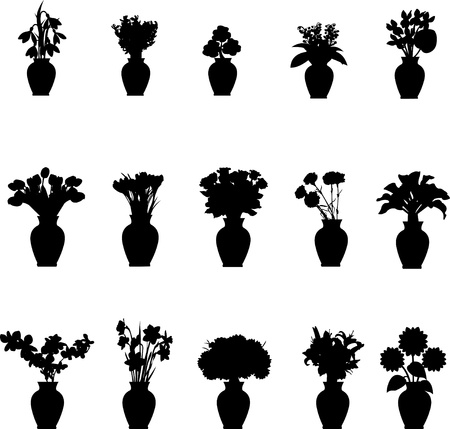 Illustration pour Bouquet different flowers in vase collection silhouettes isolated on white background - image libre de droit