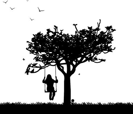 Ilustración de Girl on swing in park or garden in spring silhouette - Imagen libre de derechos