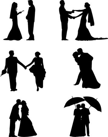 Wedding couples, groom and a bride in a different poses silhouette, one in the series of similar images
