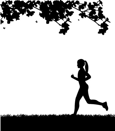 Girl running in park in spring silhouette layered