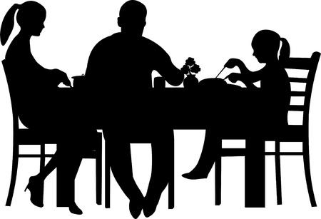 Vektor für Family having their dinner at the table silhouette  - Lizenzfreies Bild