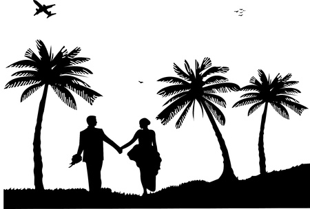 Illustration pour Wedding couple, groom and bride on seacoast between the palms on the beach silhouette, one in the series of similar images  - image libre de droit