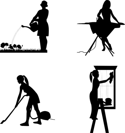 Girls and housewives in different jobs silhouette