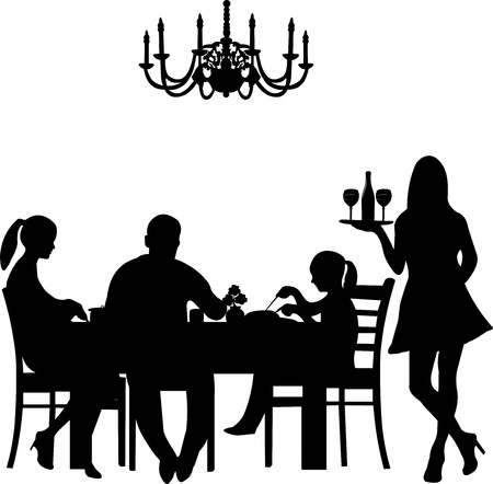 Silhouette of a restaurant scene were a family enjoy their dinner while the waiter is serving the wine, one in the series of similar images