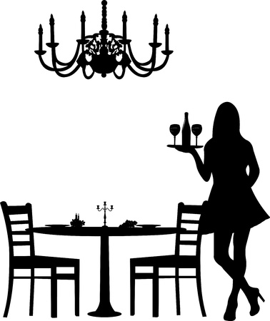 Romantic dinner for two with table and two chairs, candle decoration and candlesticks and old antique chandelier and waiter is serving the wine silhouette, one in the series of similar images