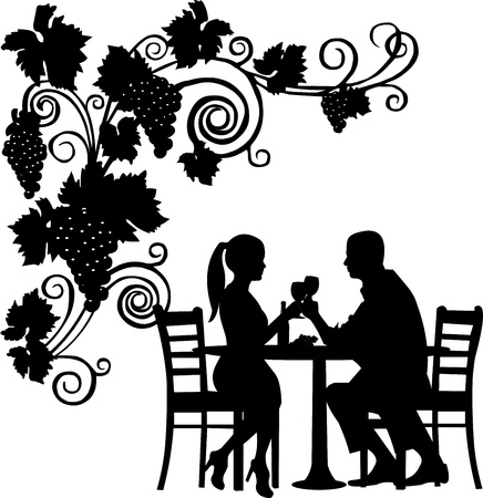 Foto de Background with grapes and romantic couple in restaurant toast with glass of wine silhouette layered  - Imagen libre de derechos
