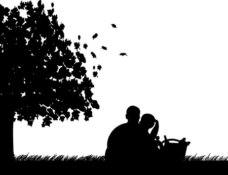 Background with couple sitting under the tree in park with basket, grapes, glass and bottle of wine in autumn or fall silhouette