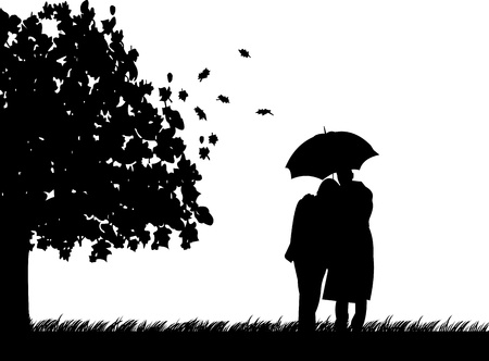 Background with couple walking with umbrella under the tree in autumn or fall silhouette, one in the series of similar images