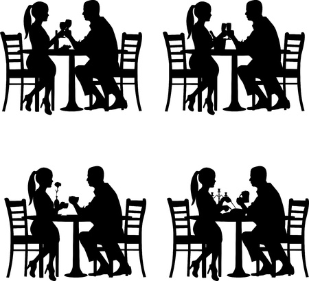 Illustration pour Background with romantic couple in restaurant in different situation silhouette  - image libre de droit