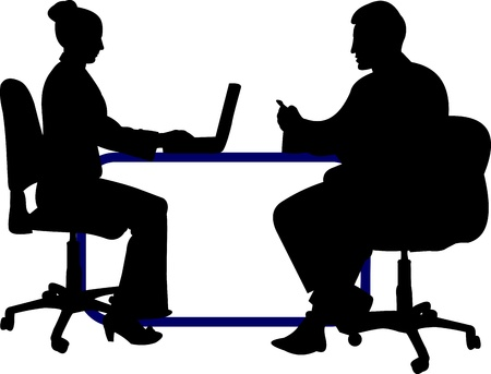 Business background with business people, of the man and woman at their working place on layered silhouette