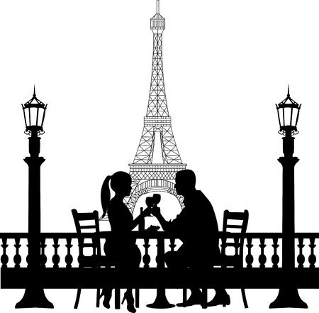 Illustration pour Romantic couple in front of Eiffel tower in Paris have a dinner silhouette, one in the series of similar images - image libre de droit