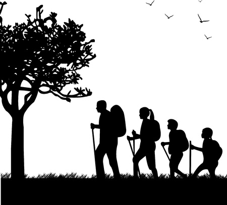 Hiking family with rucksacks in park in spring silhouette, one in the series of similar images