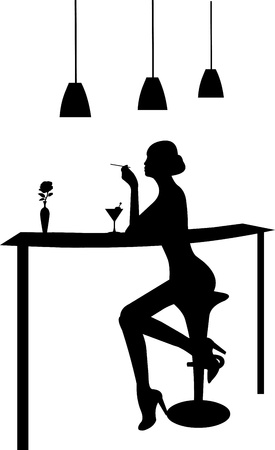 Girl drinking martini and smoking a cigarette in a bar silhouette