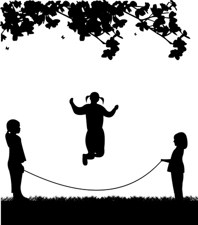 A little girls playing skipping rope in park in spring silhouette, one in the series of similar images
