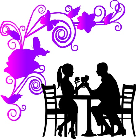 Background with flowers and butterflies and romantic couple in restaurant toast with glass of wine in color silhouette layered