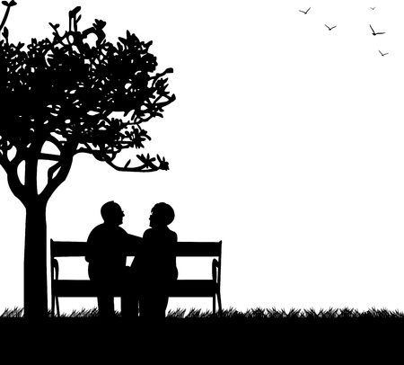Lovely retired elderly couple sitting on bench in park, one in the series of similar images silhouette