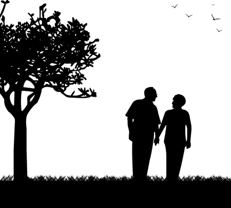 Lovely retired elderly couple walking in park, one in the series of similar images silhouette
