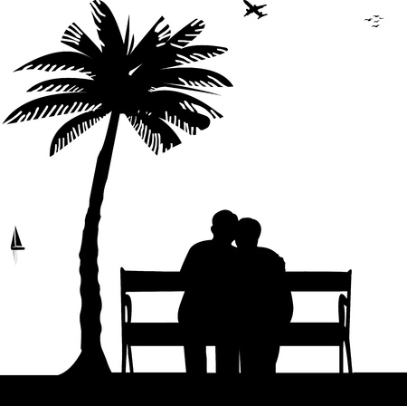 Lovely retired elderly couple sitting on bench on the beach, one in the series of similar images silhouette