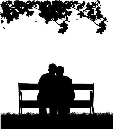 Illustration for Lovely retired elderly couple sitting on bench in garden or yard, one in the series of similar images silhouette - Royalty Free Image