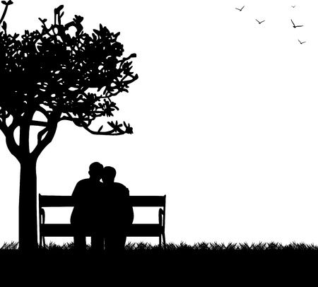 Illustration pour Lovely retired elderly couple sitting on bench in park, one in the series of similar images silhouette - image libre de droit