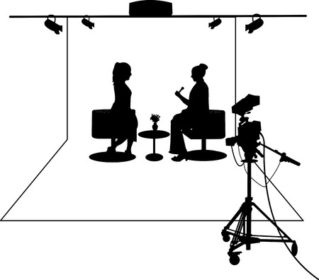 Journalist interviewing a guest in a TV studio silhouette layered