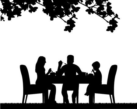 Illustration pour Family lunch in the open, one in the series of similar images silhouette - image libre de droit