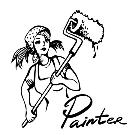 Illustration for Young girl doing repairs in apartments. Sketches concept of repairs. Wallpapering, painting walls, plastering, painting floors vector illustration. Repair work on house. - Royalty Free Image