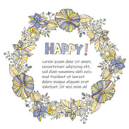 Illustration for Vector round floral frame with the words Happy and a place for text on a white background - Royalty Free Image