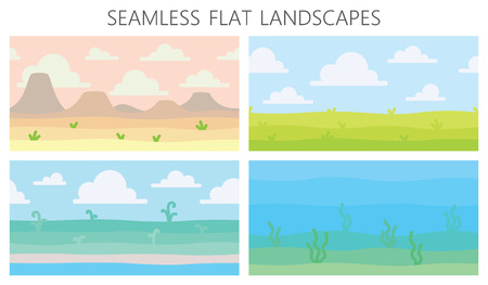 Illustration for Soft nature landscapes. Desert with mountains, green summer field, coast, plants, underwater view with seaweed. Vector illustration of horizontal seamless landscapes in simple minimalistic flat style - Royalty Free Image