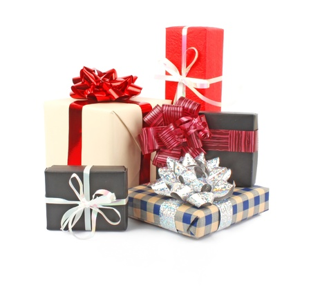 Christmas gift boxes with ribbon and bow on white, Christmas decorations