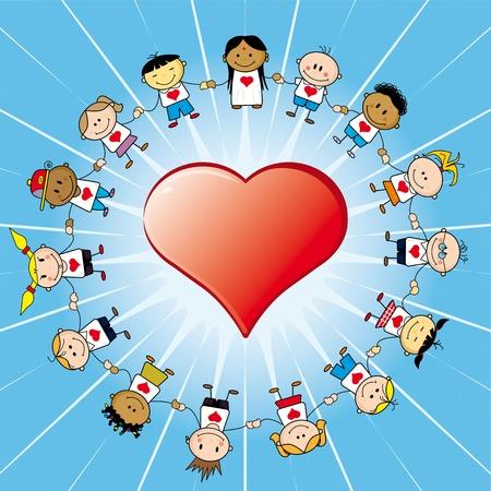 15 Children around a heart.