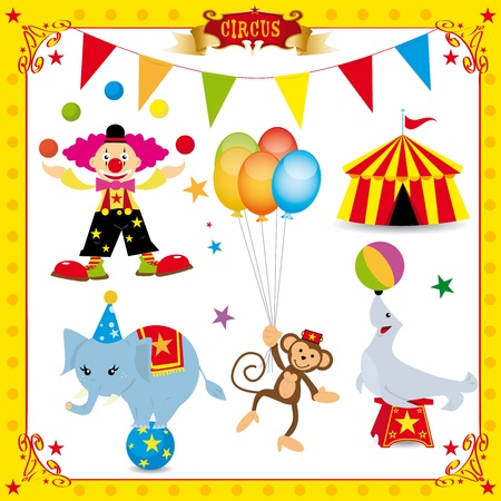 A fun circus set. Each element is on a different layer. Very easy to choose, for exemple the clown or the big top....