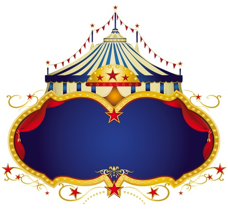 A circus frame with a big top and a large blue copy space for your message