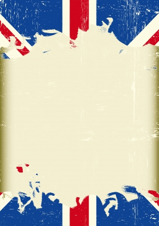 A dirty british flag with a large frame for your message