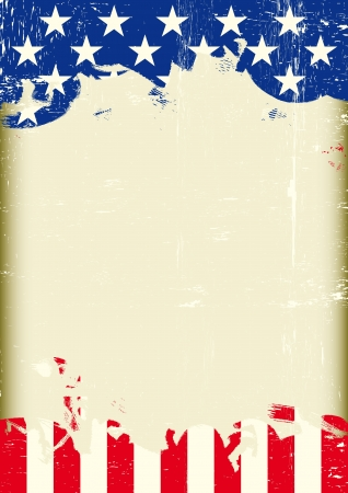 An american poster with a large scratched frame and a grunge us flag for your publicity