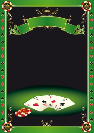A background with gambling elements  cards and 	Gambling Chips  on a table  It s ideal to promote a tournament of poker