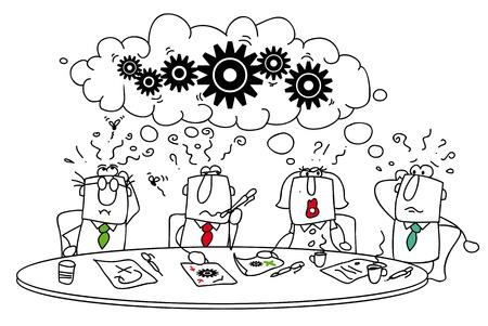 Illustration pour This group of managers around the table tries to find a solution  - image libre de droit