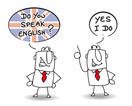 Two men are speaking english