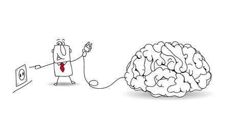 Joe, the businessman plugs a brain. It's a metaphor about to find ideas and about reflexion