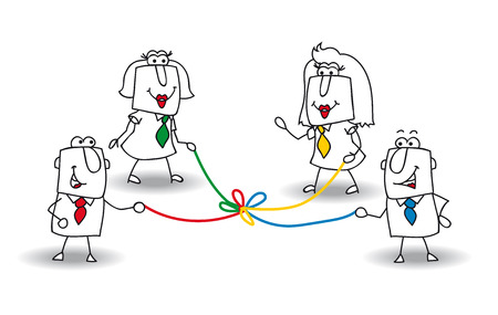 Illustration pour A group of businessmen and businesswomen hold a colored rope. It is a metaphor of co-development in a team - image libre de droit