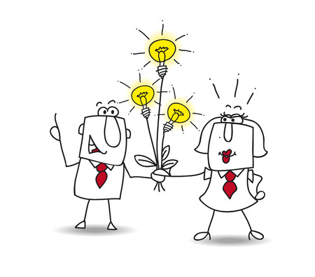 Illustration pour Joe the businessman gives a bouquet of ideas bulbs. this is a metaphor for someone who shares ideas - image libre de droit