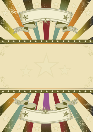 A retro background with multicolor sunbeams and a frame for your message