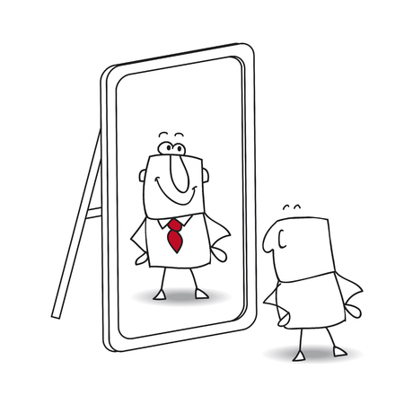 Illustration pour Joe looks in the mirror. It is a metaphor of  keeping yourself in the life - image libre de droit