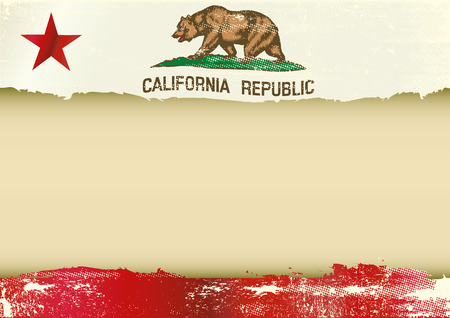 An horizontal  background with a scratched flag of California and a frame for your message