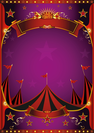 Illustration pour A circus purple poster with a big top for you. - image libre de droit