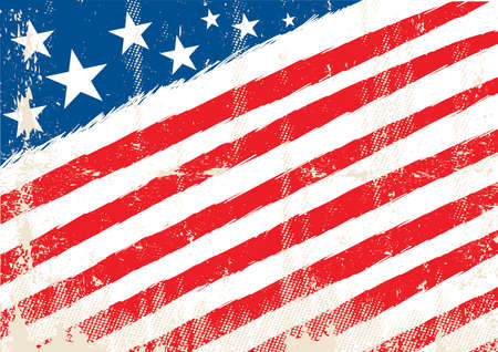 Illustration pour Horizontal american flag with and a texture - image libre de droit